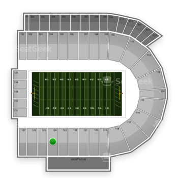 Cincinnati Bearcats Football at Nippert Stadium Section 124 View