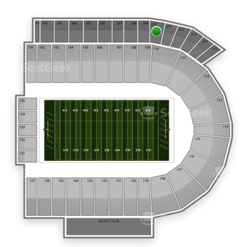 Cincinnati Bearcats Football at Nippert Stadium Section 210 View
