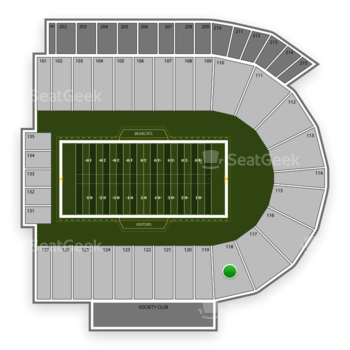 Cincinnati Bearcats Football at Nippert Stadium Section 118 View