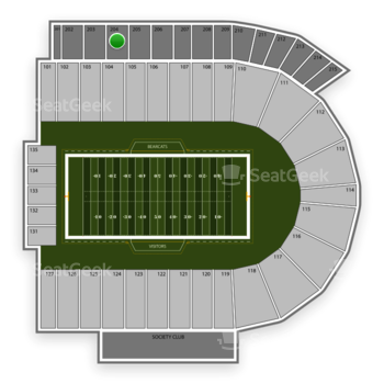 Cincinnati Bearcats Football at Nippert Stadium Section 204 View