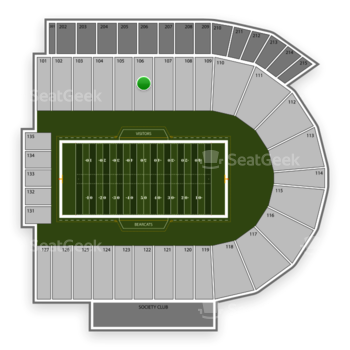 Cincinnati Bearcats Football at Nippert Stadium Section 106 View