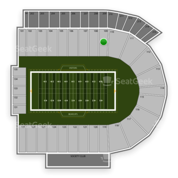 Cincinnati Bearcats Football at Nippert Stadium Section 109 View