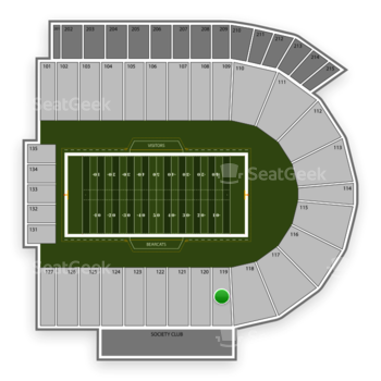Cincinnati Bearcats Football at Nippert Stadium Section 119 View