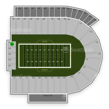 Cincinnati Bearcats Football at Nippert Stadium Section 135 View