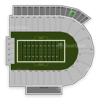 Cincinnati Bearcats Football at Nippert Stadium Section 212 View