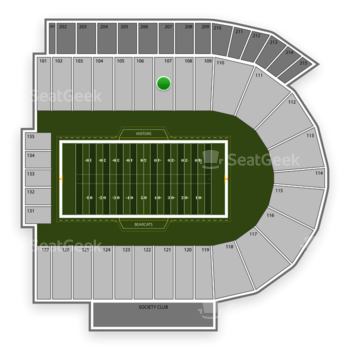 Cincinnati Bearcats Football at Nippert Stadium Section 107 View