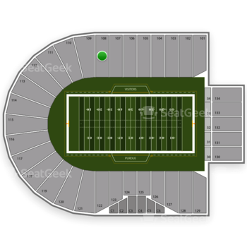 Purdue Boilermakers Football at Ross-Ade Stadium Section 108 View