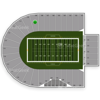 Purdue Boilermakers Football at Ross-Ade Stadium Section 109 View