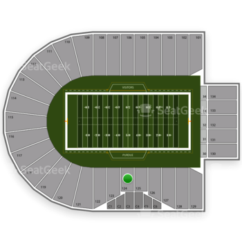 Purdue Boilermakers Football at Ross-Ade Stadium Section 124 View