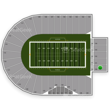 Purdue Boilermakers Football at Ross-Ade Stadium Section 130 View