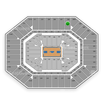 North Carolina Tar Heels Basketball at Dean E. Smith Center Section 206 View