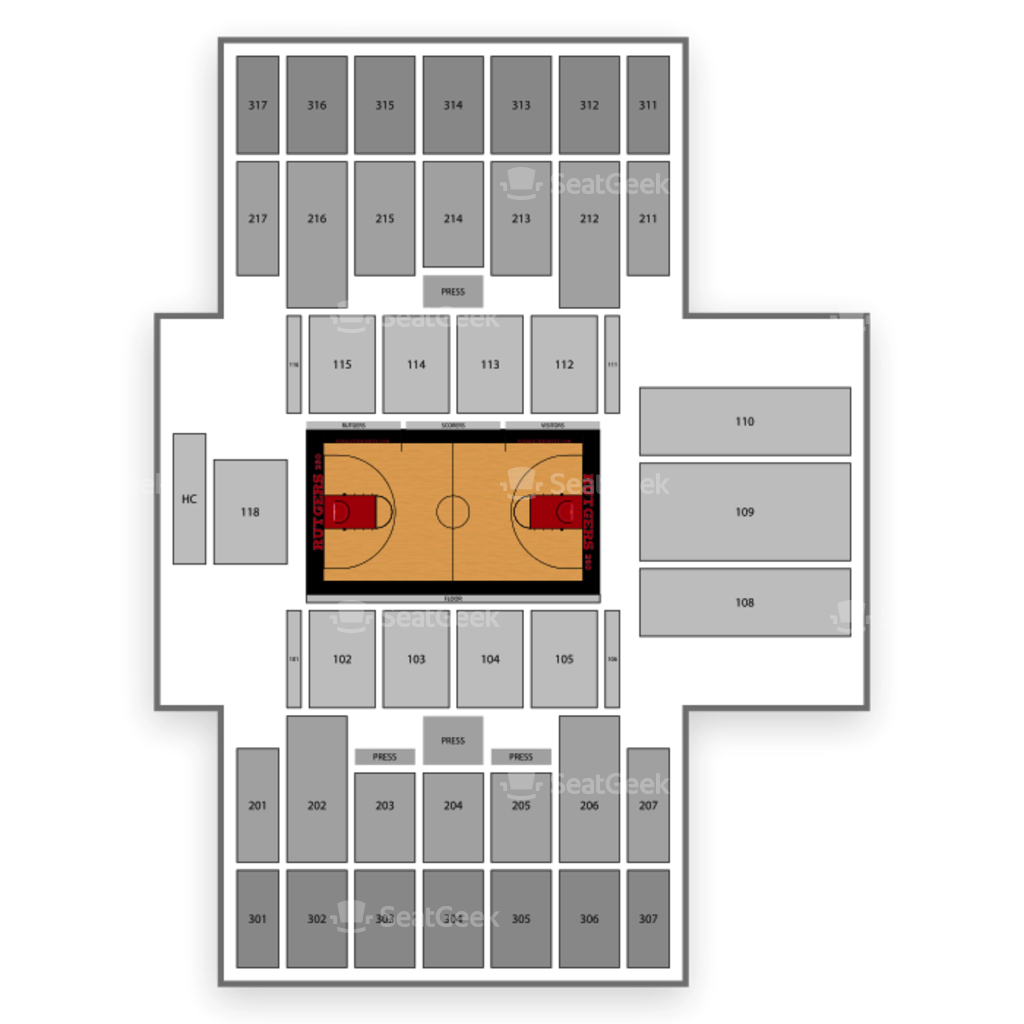 Rutgers Scarlet Knights Basketball Seating Chart Map Seatgeek