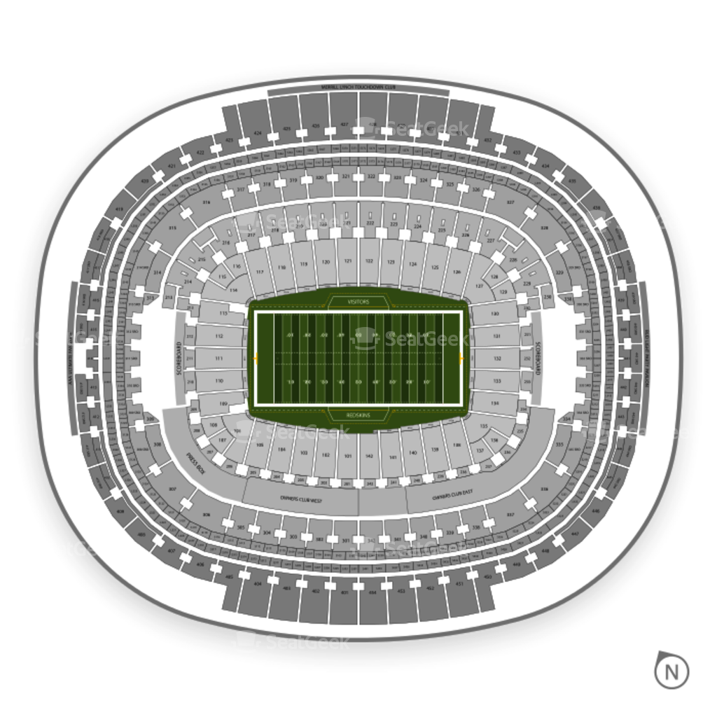 Fedex field seating chart interactive seat map seatgeek