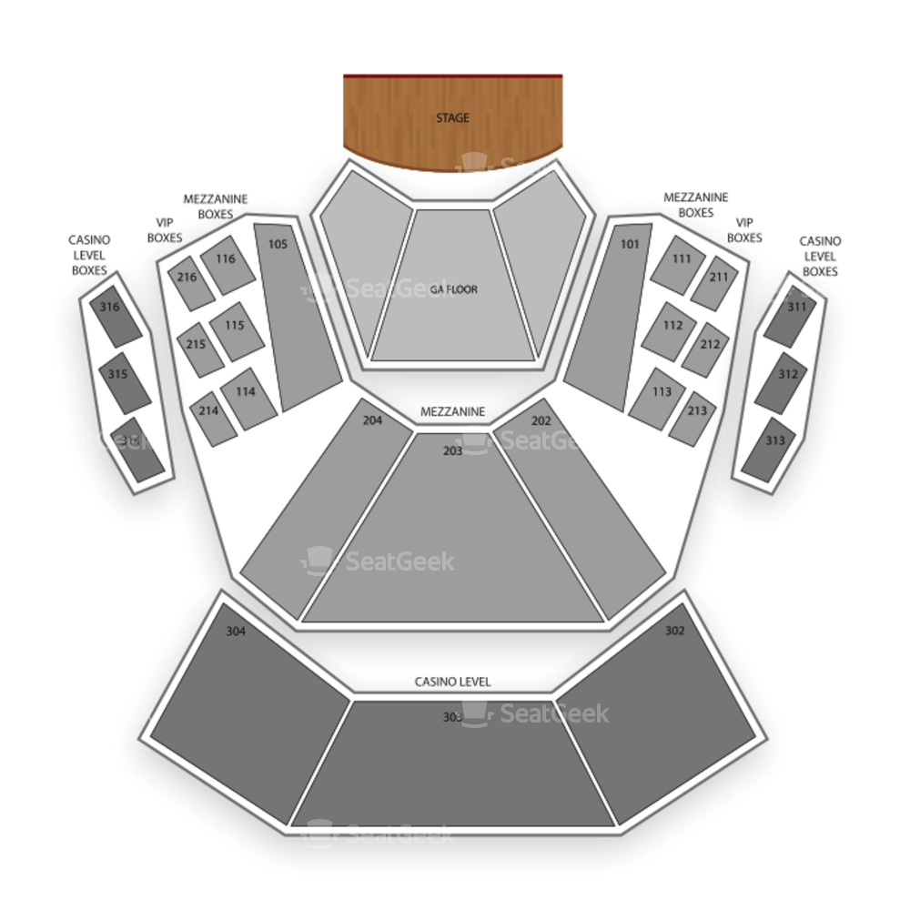 The Pearl Concert Theater Seating Chart Concert