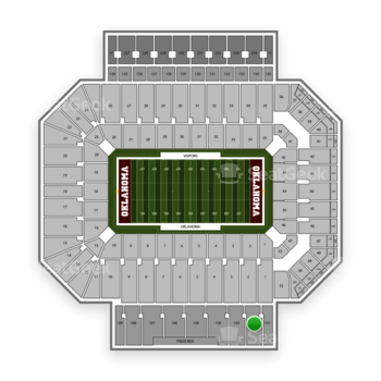 Oklahoma Sooners Football at Gaylord Family-Oklahoma Memorial Stadium Section 102 View