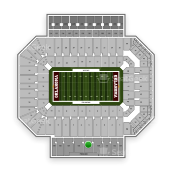 Oklahoma Sooners Football at Gaylord Family-Oklahoma Memorial Stadium Section 105 View
