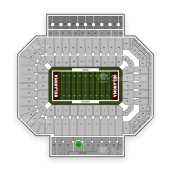 Oklahoma Sooners Football at Gaylord Family-Oklahoma Memorial Stadium Section 106 View