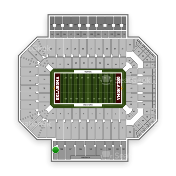 Oklahoma Sooners Football at Gaylord Family-Oklahoma Memorial Stadium Section 109 View
