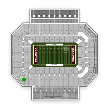 Oklahoma Sooners Football at Gaylord Family-Oklahoma Memorial Stadium Section 12 View