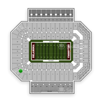 Oklahoma Sooners Football at Gaylord Family-Oklahoma Memorial Stadium Section 13 View