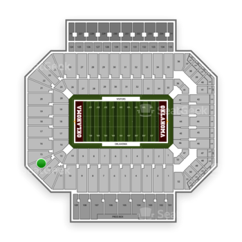 Oklahoma Sooners Football at Gaylord Family-Oklahoma Memorial Stadium Section 14 View