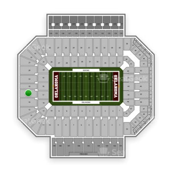Oklahoma Sooners Football at Gaylord Family-Oklahoma Memorial Stadium Section 17 View