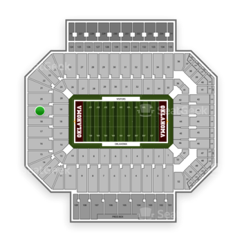 Oklahoma Sooners Football at Gaylord Family-Oklahoma Memorial Stadium Section 19 View