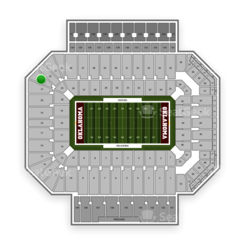 Oklahoma Sooners Football at Gaylord Family-Oklahoma Memorial Stadium Section 22 View