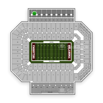 Oklahoma Sooners Football at Gaylord Family-Oklahoma Memorial Stadium Section 227 View
