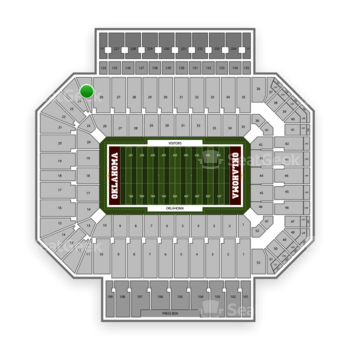 Oklahoma Sooners Football at Gaylord Family-Oklahoma Memorial Stadium Section 25 View