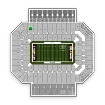 Oklahoma Sooners Football at Gaylord Family-Oklahoma Memorial Stadium Section 26 View
