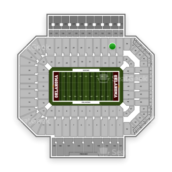 Oklahoma Sooners Football at Gaylord Family-Oklahoma Memorial Stadium Section 34 View