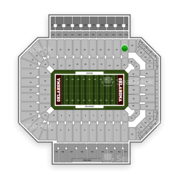 Oklahoma Sooners Football at Gaylord Family-Oklahoma Memorial Stadium Section 35 View