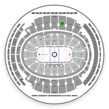New York Rangers at Madison Square Garden Section 210 View