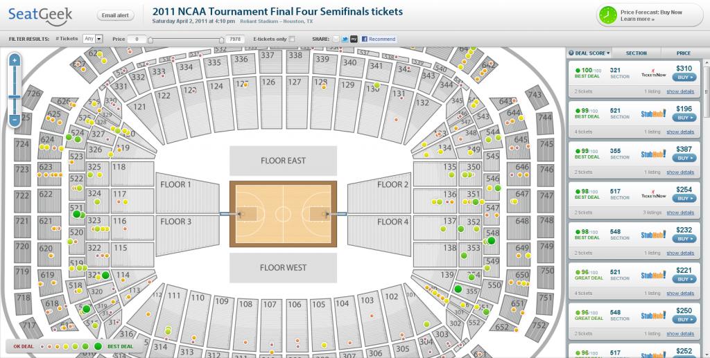 UConn Kentucky Final Four Tickets at Reliant Stadium
