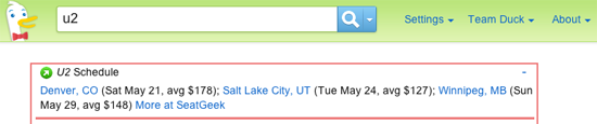 """SeatGeek results for """"U2"""" query on DuckDuckGo"""