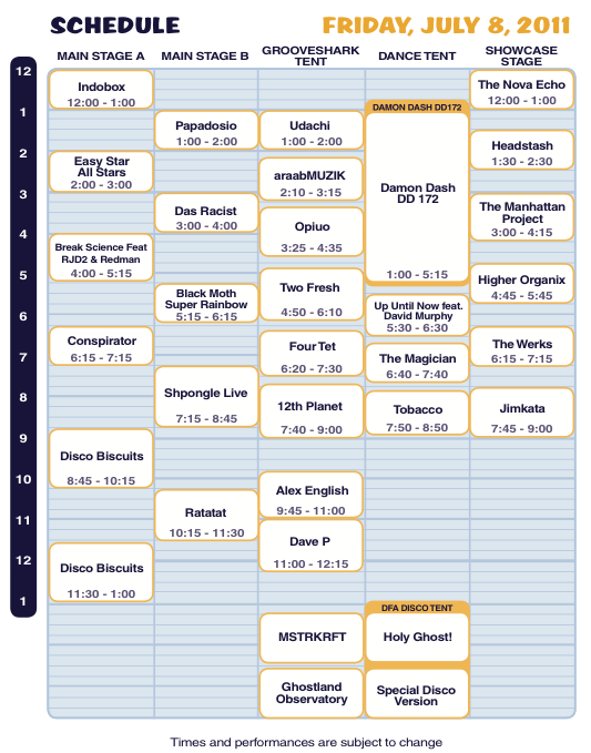 Camp Bisco X Friday Schedule