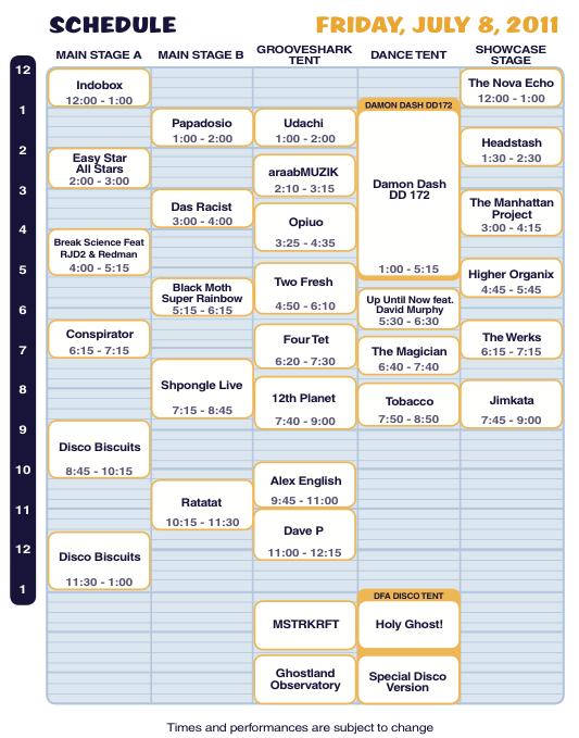 Camp Bisco X Friday Schedule