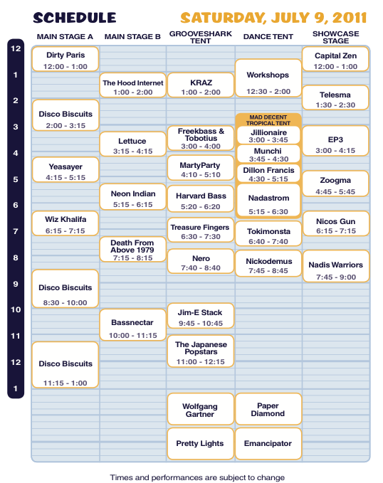 Camp Bisco X Saturday Schedule