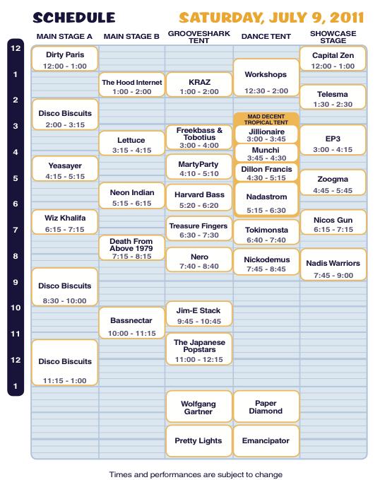 Camp Bisco X Saturday Schedule
