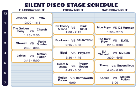Camp Bisco X Silent Disco Schedule
