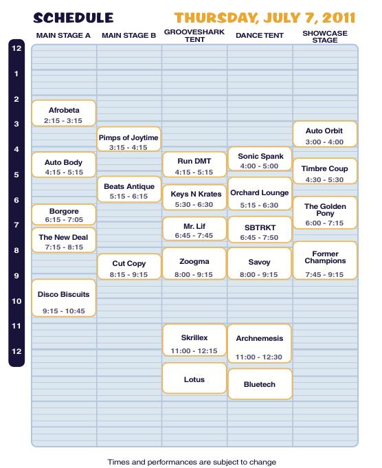 Camp Bisco X Thursday Schedule