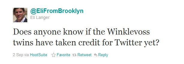 Does anyone know if the Winklevoss twins have taken credit for Twitter yet?