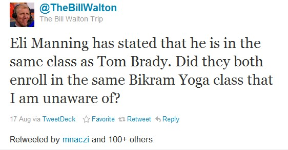 Eli Manning has stated that he is in the same class as Tom Brady. Did they both enroll in the same Bikram Yoga class that I am unaware of?