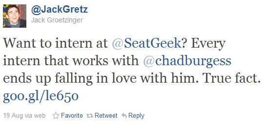 SeatGeek internship tweet