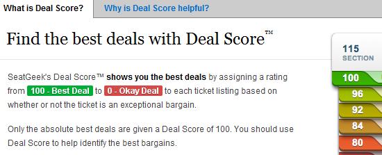 seatgeek deal score feature