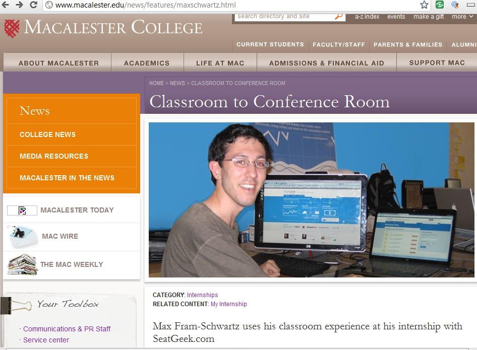 SeatGeek .edu link