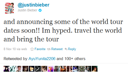 Justin Bieber tweets about his 2012 tour