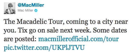 Mac Miller Macadelic Tweet