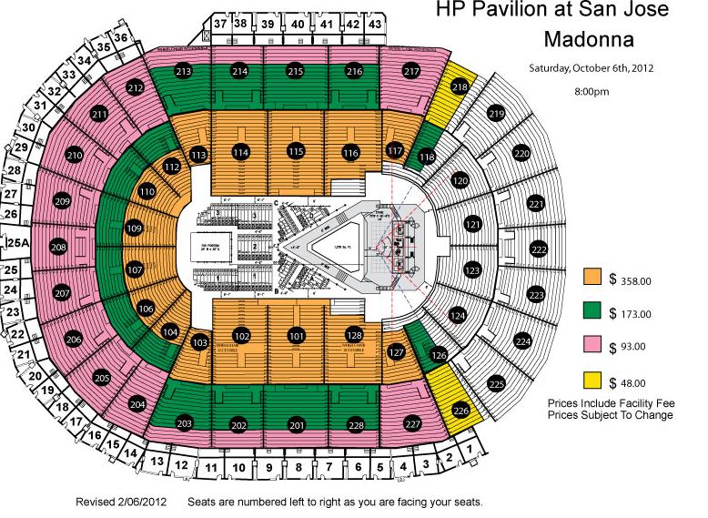 Madonna MDNA Tour 2012 Seating